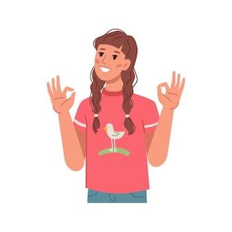 Mädchen, das eine gute geste mit den händen zeigt, isolierte jugendliche persönlichkeit, die cool zustimmt oder zustimmt und