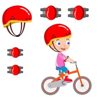 Mädchen, das eine sichere vektorillustration des fahrrades reitet