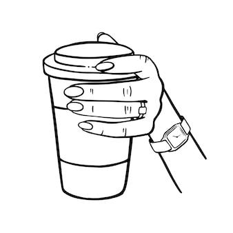 Mädchen, das einen becher kaffee hält handgezeichnete elemente cartoon monochrom clip art vektor-illustrationssatz