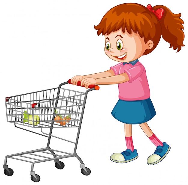Mädchen, das einkaufswagen mit lebensmitteln schiebt
