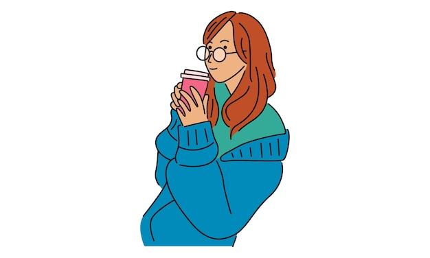 Mädchen, das eiskaffee-getränke hält
