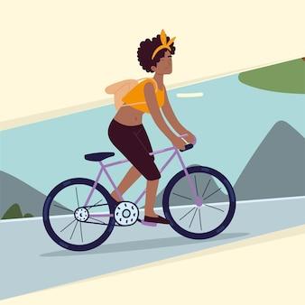Mädchen, das fahrrad fährt