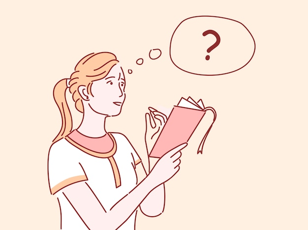 Mädchen, das flache illustration denkt. studentin, die liste tut, notizen macht, aufgabe isolierte zeichentrickfigur mit umriss löst. nachdenkliche frau fragt, notizbuch und bleistift haltend