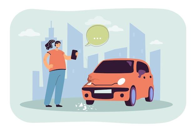 Mädchen, das foto der flachen illustration des beschädigten autos macht