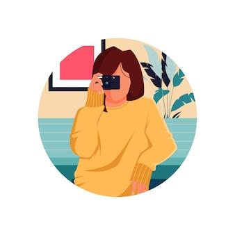 Mädchen, das fotoillustration nimmt
