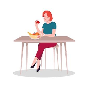 Mädchen, das frische früchte halbflacher rgb-farbvektorillustration genießt. gesunde ernährung, natürlicher lebensmittelkonsum. junge kaukasische frau, die frischen apfel isst, lokalisierte zeichentrickfilm-figur auf weißem hintergrund