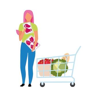 Mädchen, das frisches fleisch im supermarkt halbflacher farbvektorcharakter wählt