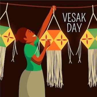 Mädchen, das für vesak poya sich vorbereitet