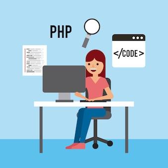 Mädchen, das funktionierenden laptop-programm-code php suchtechnologie sitzt