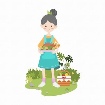 Mädchen, das gebratenes huhn-picknickkinder einfache illustration hält