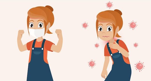 Mädchen, das gesicht mit medizinischer maske bedeckt und starkes und krankes mädchen nicht medizinische maske zeigt