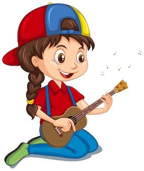 Mädchen, das gitarre auf weiß spielt