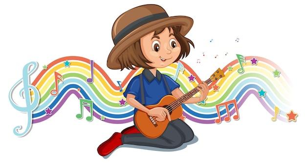 Mädchen, das gitarre mit melodiesymbolen auf regenbogenwelle spielt