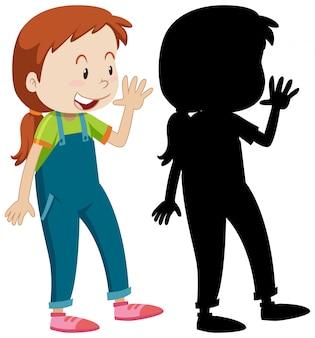 Mädchen, das gruß mit seiner silhouette aufwirft
