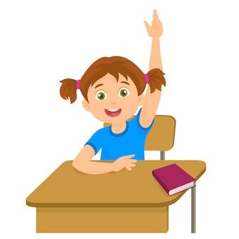 Mädchen, das hand im klassenzimmer für eine antwort anhebt