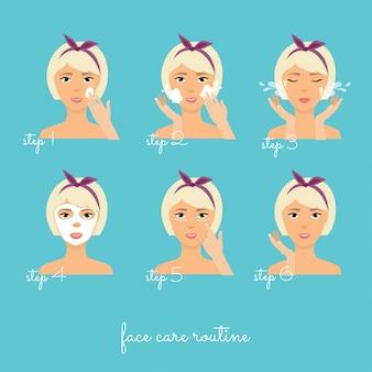 Mädchen, das ihr gesicht mit verschiedenen aktionen säubert und pflegt. das ergebnis der verwendung von kosmetischen gesichtspflegeprodukten (creme, maske). hautpflege-symbole.