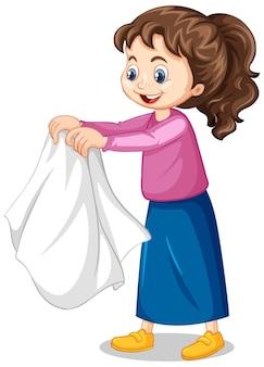 Mädchen, das ihre mantelzeichentrickfigur auszieht