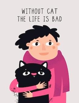 Mädchen, das ihre reizende schwarze katze umarmt