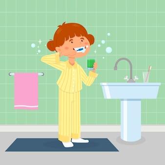 Mädchen, das ihre zähne putzt