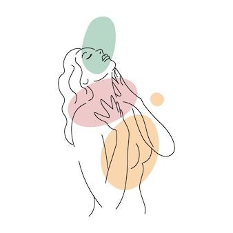 Mädchen, das ihren hals berührtlinie mädchen abstrakte minimalistische silhouetten mit farbigen flecken