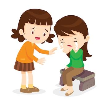 Mädchen, das ihren schreienden freund tröstet