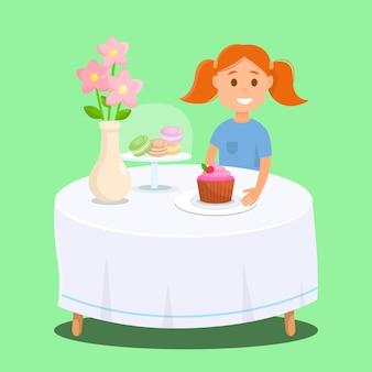 Mädchen, das im bäckereishop mit frucht-kleinem kuchen sitzt. Premium Vektoren