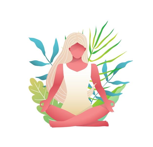 Mädchen, das im lotus yoga pose in der natur sitzt