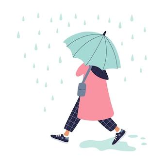 Mädchen, das im regen im roten mantel mit regenschirm geht. herbstdesign.