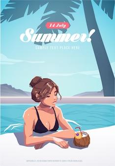 Mädchen, das im swimmingpool sich entspannt. sommerferienplakat oder -flyer. vektor-illustration