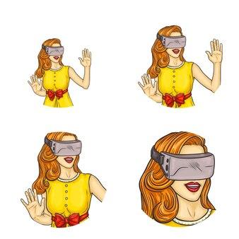 Mädchen, das in den gläsern der virtuellen realität lächelt