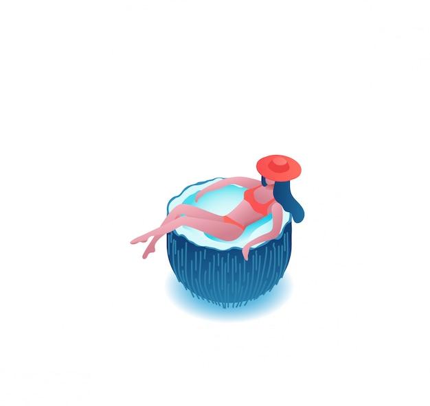 Mädchen, das in der karikaturkokosnuss, sommerfestleute sich entspannt