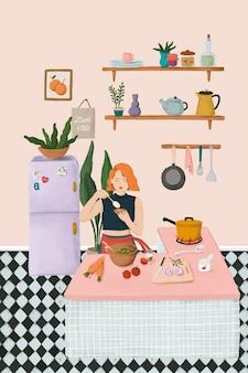 Mädchen, das in einem küchenskizzenartvektor kocht