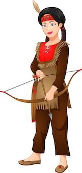 Mädchen, das indianisches kostüm trägt und pfeile trägt