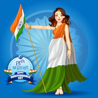 Mädchen, das indisches flaggenplakat hält