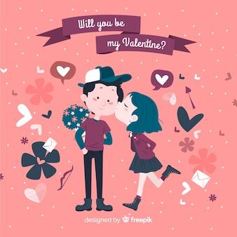 Mädchen, das jungenvalentinstaghintergrund küsst