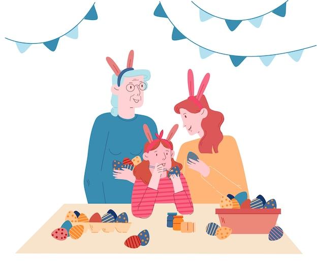 Mädchen, das kaninchenohren trägt, die eier malen