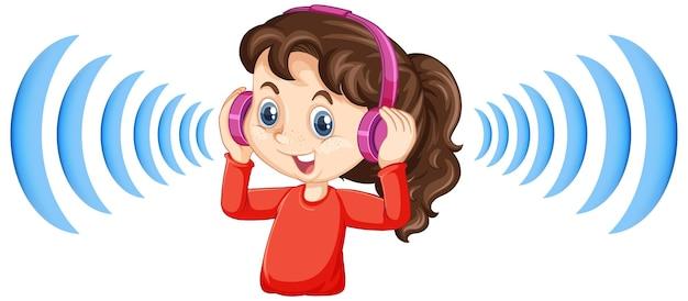 Mädchen, das kopfhörer mit geräuschunterdrückung trägt