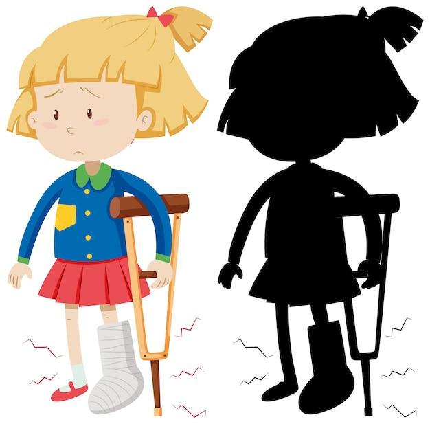 Mädchen, das krücke mit seiner silhouette benutzt