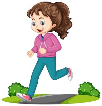 Mädchen, das laufübungskarikaturcharakter lokalisiert tut