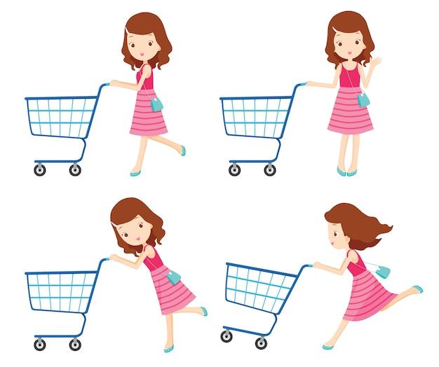 Mädchen, das leere einkaufswagen mit verschiedenen aktionen schiebt