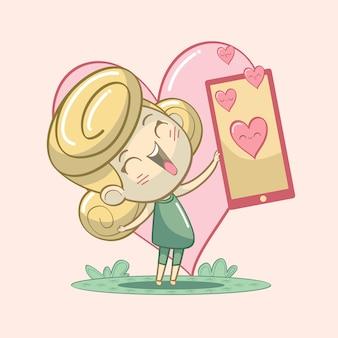 Mädchen, das liebesillustration, zeichentrickfigur teilt.