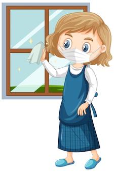 Mädchen, das maske trägt, die das fensterglas reinigt