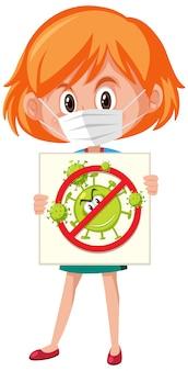 Mädchen, das maske trägt und stopp-coronavirus-zeichen hält