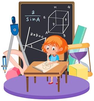 Mädchen, das mathe mit mathesymbol und -ikone lernt