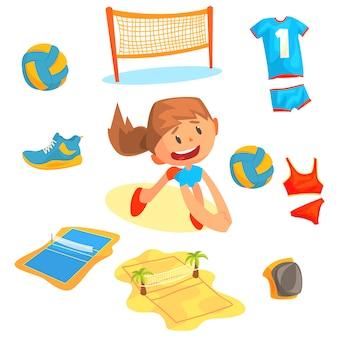 Mädchen, das mit einem ball am beachvolleyball-satz für etikettendesign spielt.