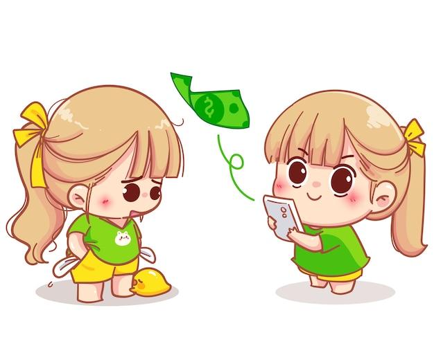 Mädchen, das mobile bank für überweisung der geldkarikaturillustration verwendet