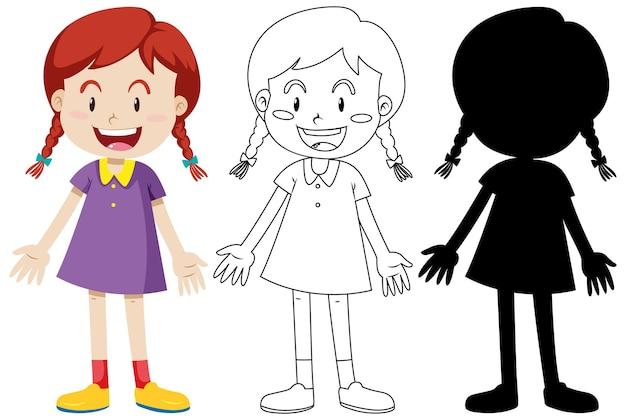 Mädchen, das niedliches outfit in farbe und umriss und silhouette trägt