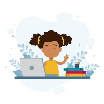 Mädchen, das online-unterricht nimmt