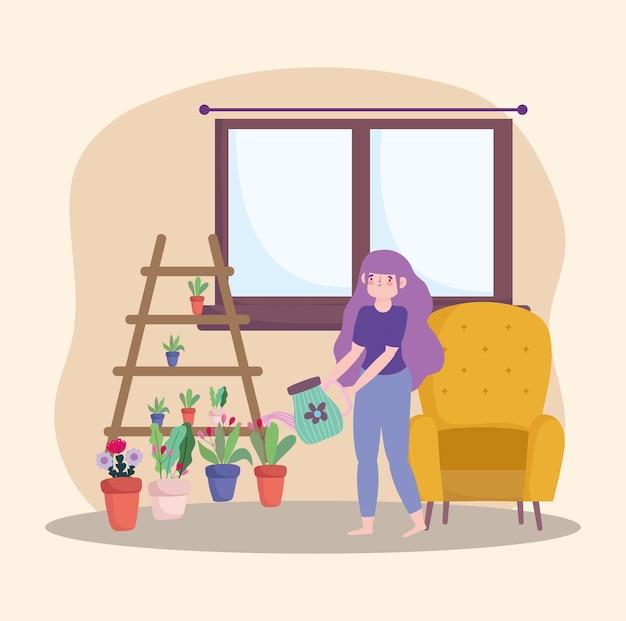Mädchen, das pflanzen pflegt