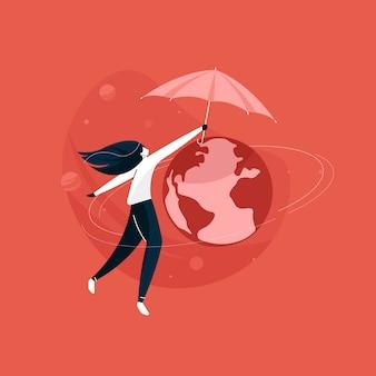 Mädchen, das planeten mit regenschirm schützt, rettet den planeten erde, weltumwelttag